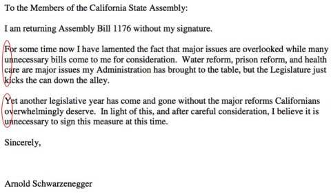 Schwarzenegger Gives California Legislature A Hidden Finger